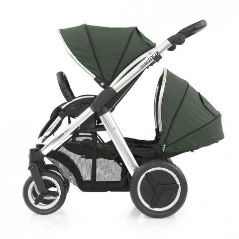 Прогулочная коляска для двоини Babystyle Oyster Max Olive Green шасси Silver