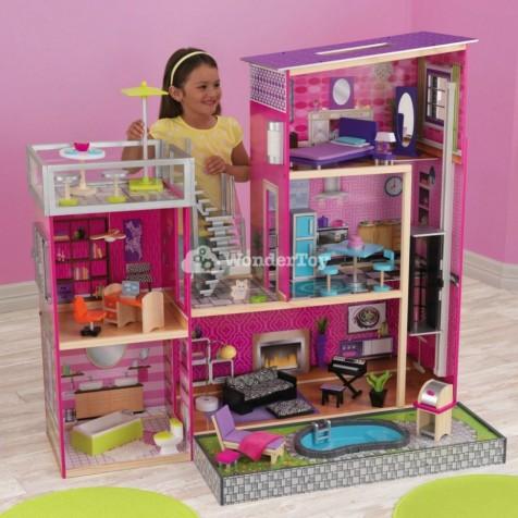 Кукольный домик KidKraft Dollhouse Luxury Uptown Residence с бассейном со светом и звуком цвет 65833
